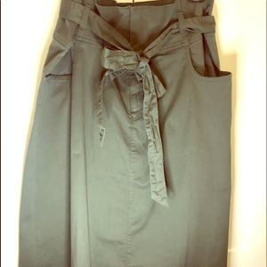Army green paper bag waist skirt